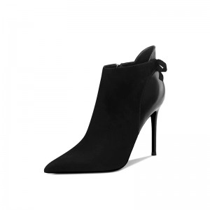 Black Suede Bow Stiletto Boots Pointy Toe Ankle Boots