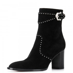 Black Suede Buckle Chunky Heel Boots Ankle Boots
