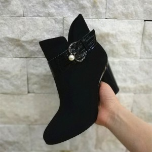 Black Suede Buckle Pearl Chunky Heel Ankle Booties