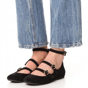 Black Suede Buckles Mary Jane Shoes Round Toe Flats with Zipper