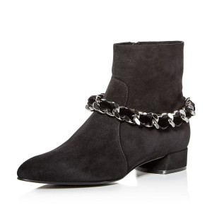 Black Suede Chain Block Heel Ankle Booties