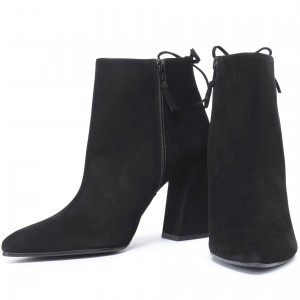 Black Suede Chunky Heel Boots Ankle Boot
