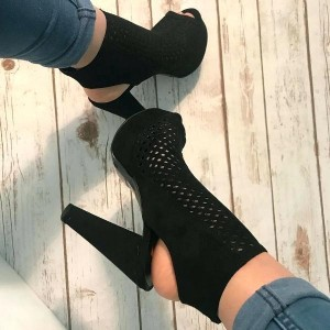 Black Suede Chunky Heel Boots Platform Hollow Out Peep Toe Boots