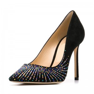 Black Suede Colorful Rhinestones Stiletto Heels Pumps