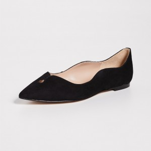 Black Suede Curvy Hole Comfortable Flats