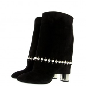 Black Suede Flod Over Pearl Chunky Heel Ankle Boots