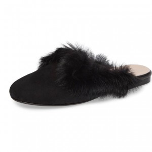 Black Suede Fur Loafer Mule Sequined Comfortable Flats