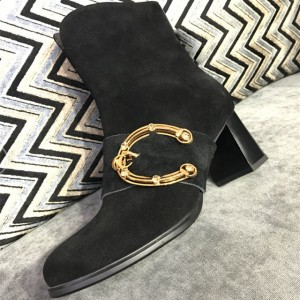 Black Suede Gold Metal Crystal Decorated Block Heel Ankle Booties