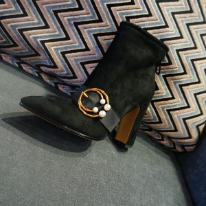 Black Suede Gold Pearl Buckle Block Heel Ankle Booties