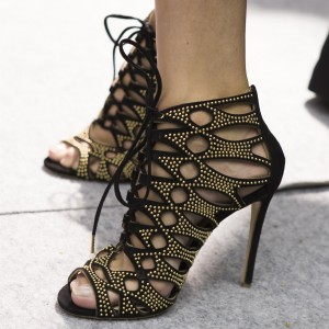 Black Suede Lace-up Sandals Studs Hollow out Stiletto Heel Sandals