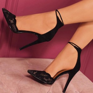 Black Lace Ankle Strap Heels Pumps