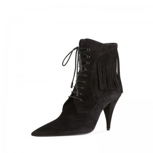 Black Suede Lace Up Boots Pointy Toe Fringe Cone Heel Ankle Boots
