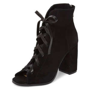 Black Suede Lace Up Peep Toe Chunky Heel Boots