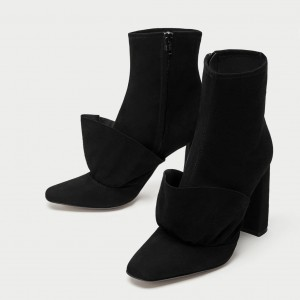 Black Square Toe Boots Suede Fashion Chunky Heel Ankle Boots