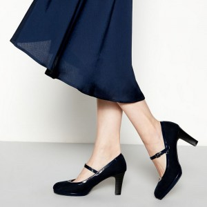 Navy Suede Mary Jane Heels Chunky Heels Vintage Shoes