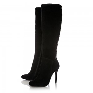 Black Suede Metal Button Knee High Boots