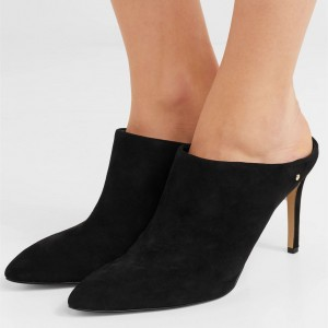 Black Suede Mule Heels Pointy Toe Stiletto Heels US Size 3-15