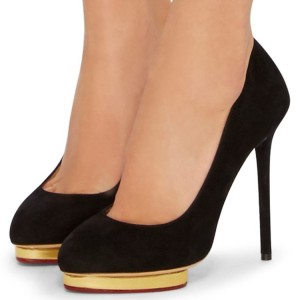 Black Suede Office Heels Platform Pumps Stiletto Heels Pumps