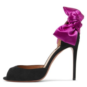 Black Suede Peep Toe Purple Bow Stiletto Heels Pumps
