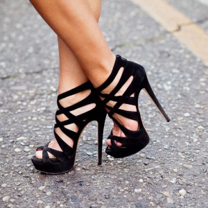 Black Platform Sandals Suede Sexy Stiletto Heels