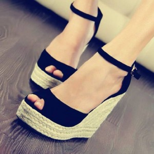 Black Suede Espadrille Sandals Peep Toe Platform Wedge Sandals