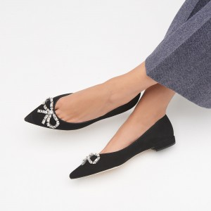 Black Suede Pointy Toe Comfortable Flats with Rhinestone Bow