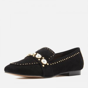 Black Suede Rhinestone Pearl Loafers for Women