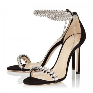 Black Rhinestone Stiletto Heel Ankle Strap Sandals