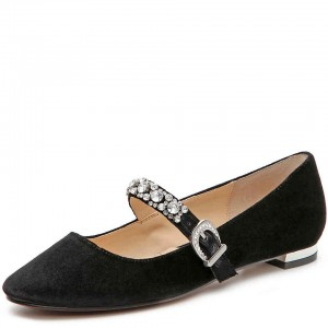 Black Suede Rhinestone Strap Mary Jane Shoes Buckle Round Toe Flats