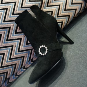Black Suede Rhinestones Ring Stiletto Heels Ankle Booties