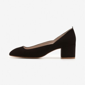 Black Suede Round Toe Block Heel Pumps