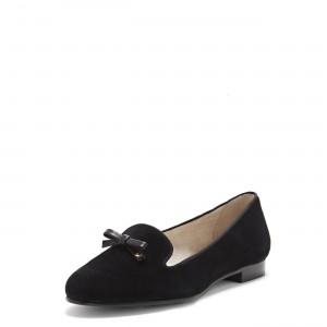 Black Suede Round Toe Loafers for Women Comfortable Flats with Bow