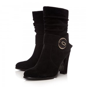 Black Suede Slouch Boots Button Chunky Heel Ankle Booties