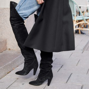 Black Suede Slouch Boots Cone Heel Almond Toe Over-the-Knee Boots