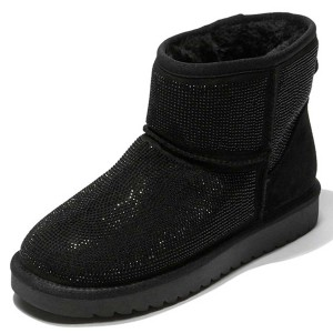 Black Suede Snow Boots Rhinestone Hotfix Short Winter Boots