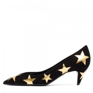 Black Suede Stars Kitten Heels Pumps