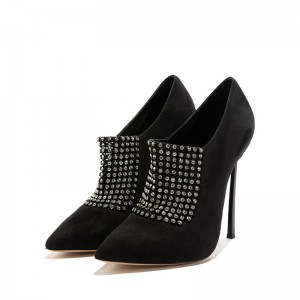 Black Suede Stiletto Boots Rhinestone Stiletto Heel Ankle Boots