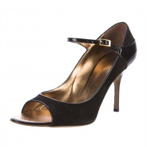 Black Suede Stiletto Heels Peep Toe Sandals Mary Jane Shoes