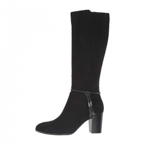Black Suede Strap Tassel Long Boots Chunky Heel Knee High Boots