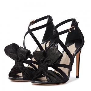 Black Suede Strappy Heels Bow Stiletto Heel Sandals