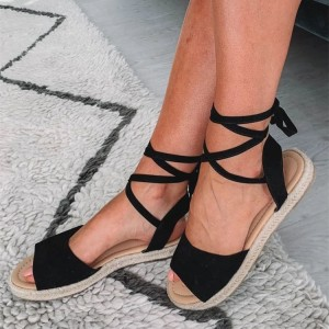 Black Suede Strappy Sandals Open Toe Flat Sandals