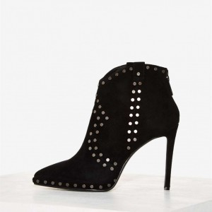 Black Suede Studs Ankle Booties Pointy Toe Stiletto Boots