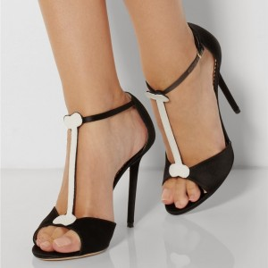 Black T-Strap Pumps Peep Toe Stiletto Heel Sandals