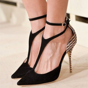 Women's Black Ankle Strap Stiletto Heels Pointed Toe Pumps Shoes