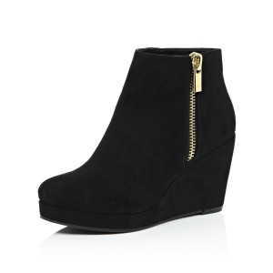 Black Suede Wedge Booties Platform Ankle Boots