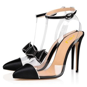 Black T Strap Pumps PVC Bow Stiletto Heel Pumps