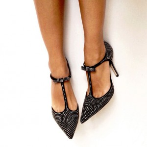Black T Strap Pumps Pointy Toe Sequined Stiletto Heels