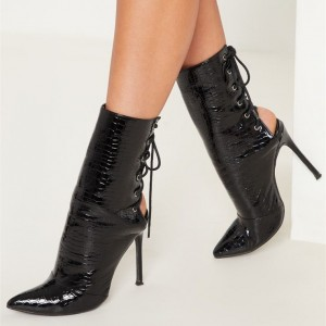 Black Textured Vegan Leather Back Lace up Boots Pointy Toe Ankle Boots