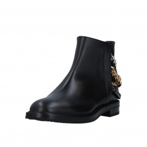 Black Three Chains Flat Ankle Booties