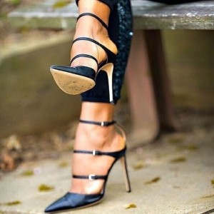 Black Three Strap Stiletto Heel Sexy Closed Toe Pumps Shoes